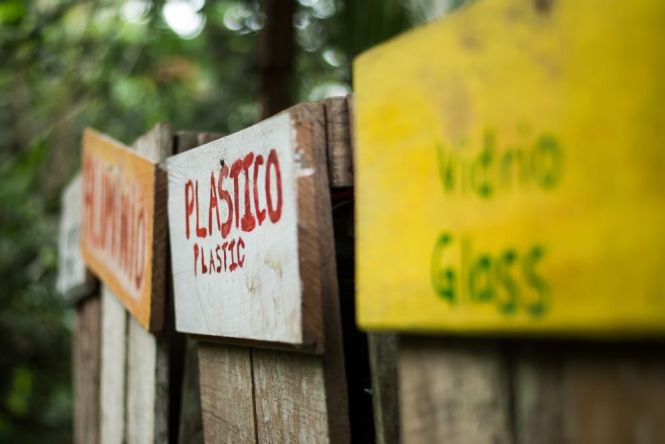 Recycling receptacles in Yorkin. Image by Diana Crandall. Costa Rica, 2015.